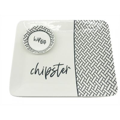 Hip Dip/Chipster Ceramic Platter And Dip Bowl Set of 2