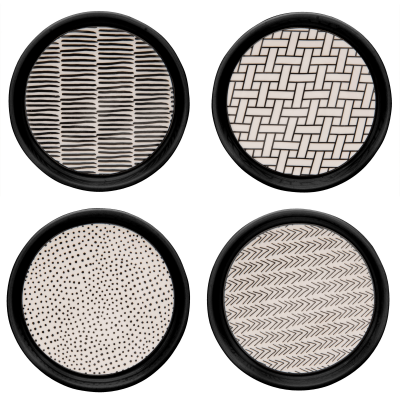 Porcelain Poppin Patterns Coasters S/4