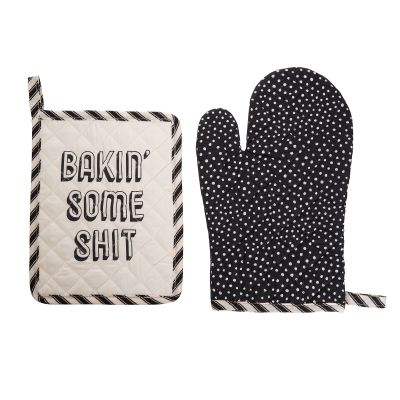 Bakin' Some Shit Pot Holder & Oven Mitt Set of 2