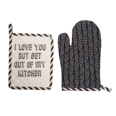 I Love You But Get Out Of My Kitchen Pot Holder & Oven Mitt Set of 2