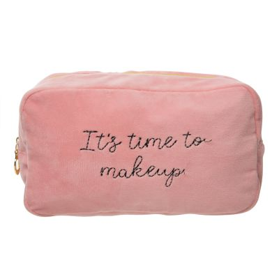 It's Time To Makeup Large Velvet Cosmetic Bag
