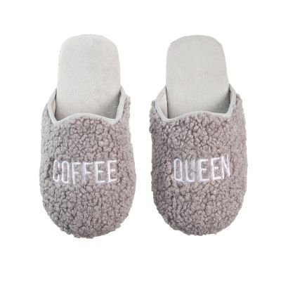 Coffee Queen Fabric Slippers Large/Xlarge