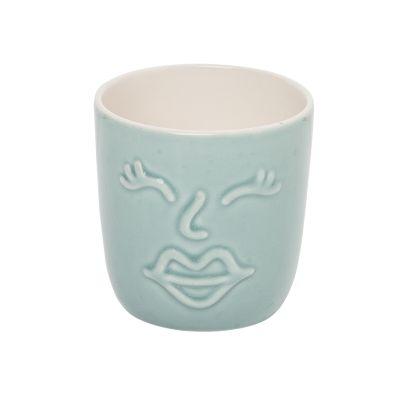 Blue Face Small Ceramic Planter