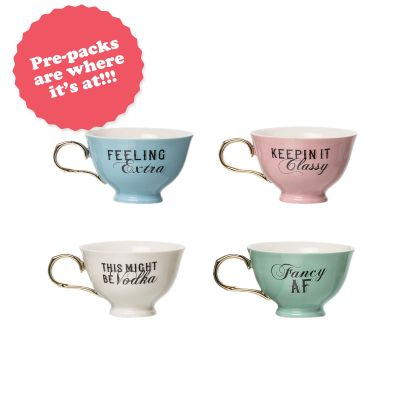 Teacup Prepack (16 pcs) 4pcs each of 4 styles