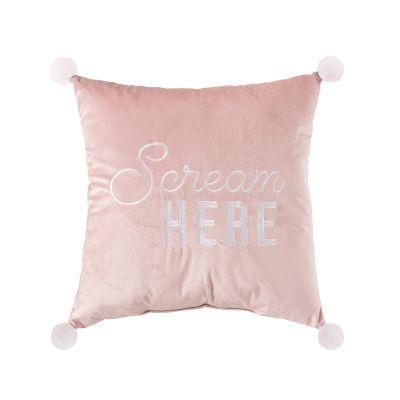 Scream Here Velvet Pillow