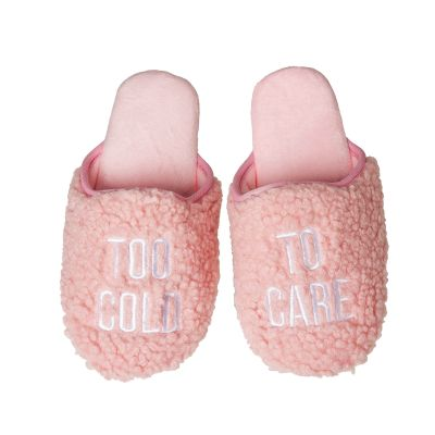 Too Cold To Care Fabric Slippers Large/Xlarge