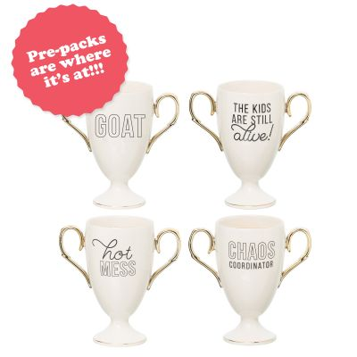 Trophy Mug Prepack (16 pcs) 4 pcs each of 4 styles