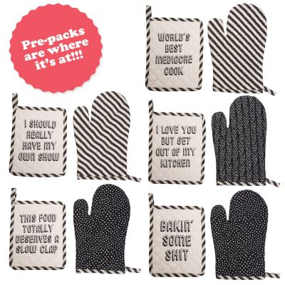 Pot Holder & Oven Mitt Prepack (20 pcs) 4 pcs each of 5 styles